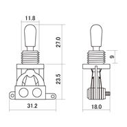 Picture of 3-way Toggle Switch - Black Knob - Japan
