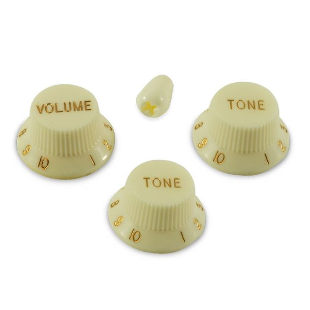 Picture of Stratocaster Knob Set with Tip - Parchment